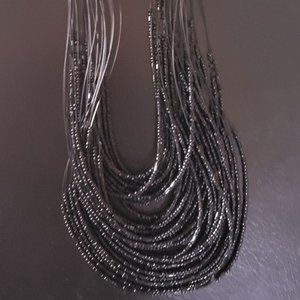 Beautiful Multi Strand Faceted Black Necklace NEW